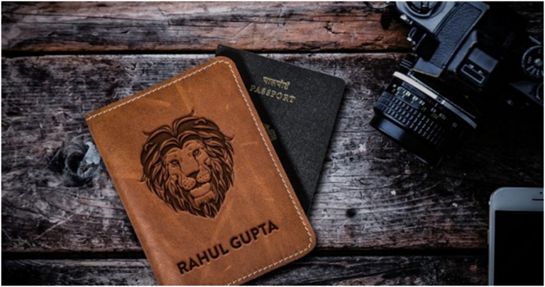 Best leather passport cover with a name in India